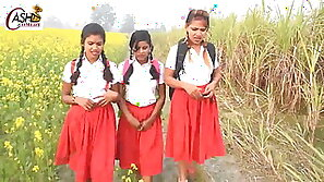 Outdoor schoolgirl sex romance with Hindi audio (India)